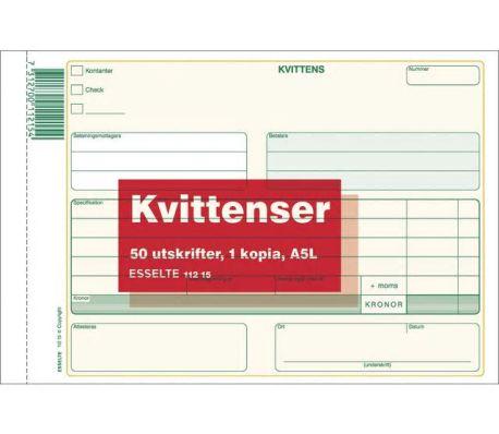 Esselte Blankett Med Kvitto A5L 50 blad  I block