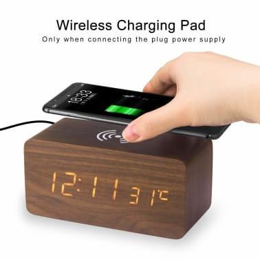 Digital LED väckarklocka med trådlös laddare brun