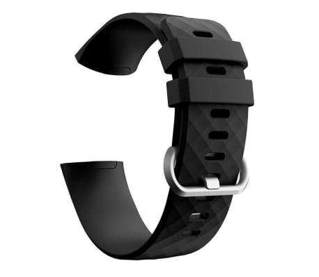 Fitbit Charge 3/4 bracelet silicone - noir / argent - Petit
