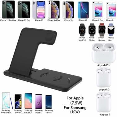 3 i 1 trådlös laddningsstation telefonhållare, Qi Fast trådlös laddare bas för iPhone 8 X Samsung Galaxy S6 S7 S8 Apple i Watch