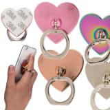 Universal Mobilhållare Fingerhållare Ring Hjärta Guld Bordsställ 1st