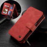 CASEME Samsung Galaxy S7 Edge Retro läder plånboksfodral Röd