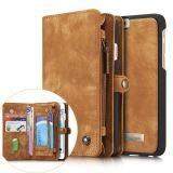 CASEME iPhone 6s 6 Retro Split läder plånboksfodral - Brun