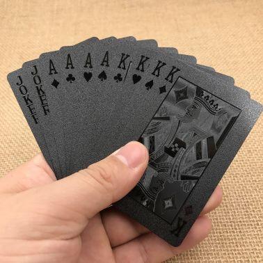 Svart Plast PVC Poker Vattentäta Spelkort Kortlek[2/9]