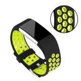Silikon Rem till Fitbit Charge 2 - Grön/Svart