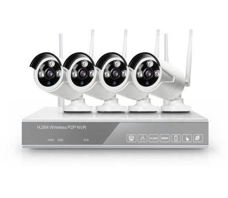 Övervakningssystem WiFi, 4 övervakningskameror 2.0MP Inspelning, larm[2/5]