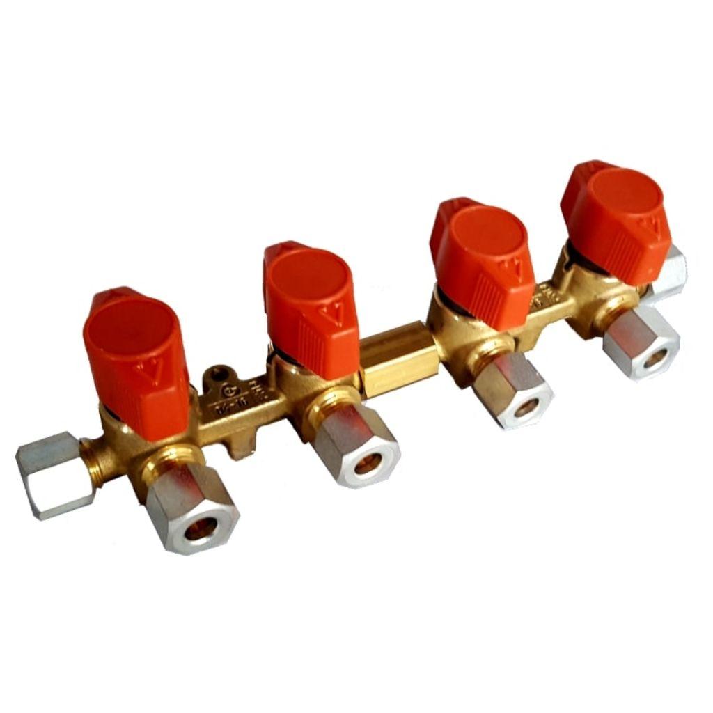 Broilfire 4 weg vk4 Messing Gas verdeel kraan x 8 mm knel watersport