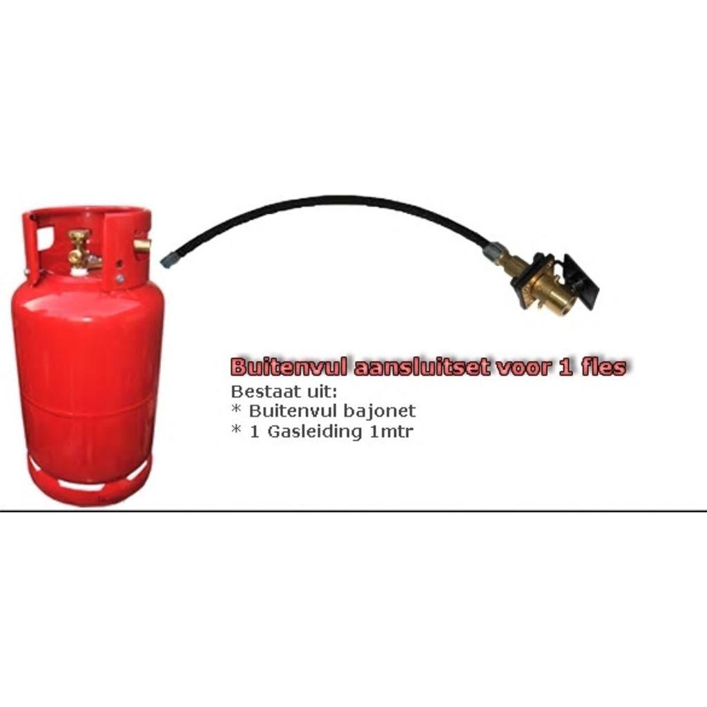 Afbeelding van Broilfire Buitenvuller set plat bajonet + vulslang 1 mtr voor fles