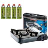 Kemper Réchaud à gaz portable 1 brûleur & 4 cartouches de gaz incluse