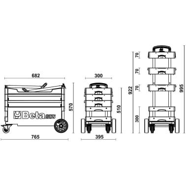 """Beta Tools sammenklappelig værktøjsvogn """"C27S-O"""" orange stål 027000201[7/7]"""