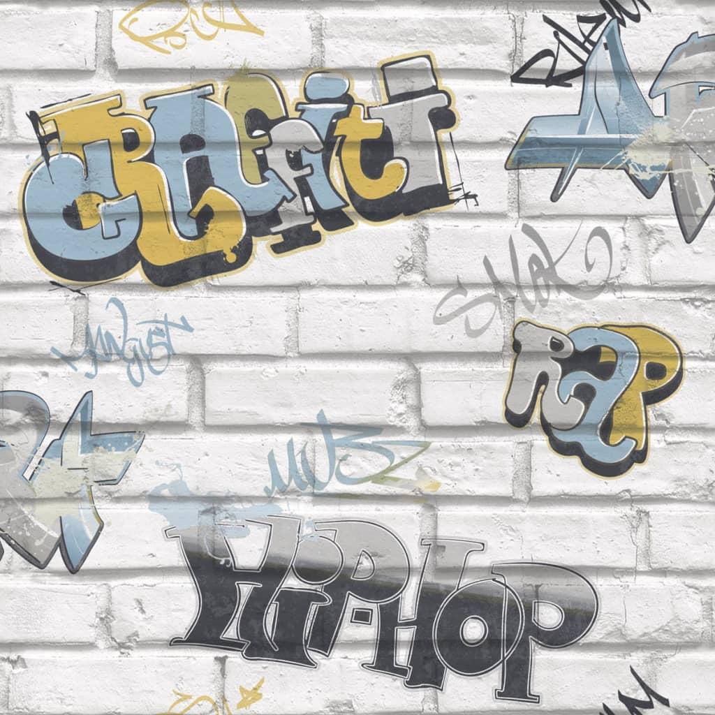 Urban Friends & Coffee Tapet Graffity, gri și albastru vidaxl.ro
