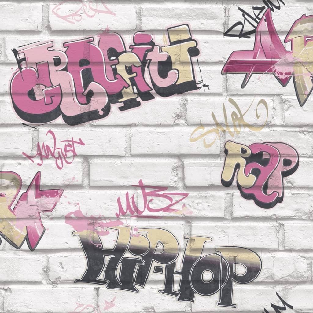 Urban Friends & Coffee Tapet Graffity, roz și alb vidaxl.ro