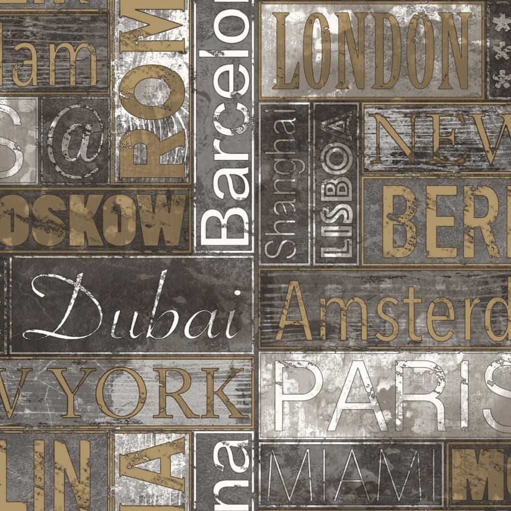 Urban Friends & Coffee Tapet City Names, gri și auriu vidaxl.ro