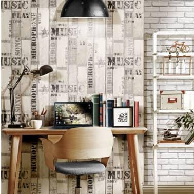 Super Urban Friends & Coffee Behang houten planken grijs en zwart SE-25