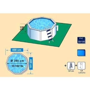 Piscine blanche avec cadre en acier diamètre 350 cm[2/2]
