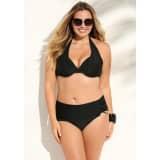 Bikini uni noué sur nuque culotte froncée femme - 013543
