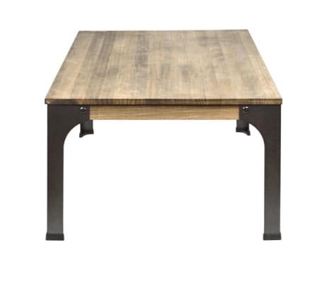 Table Basse Style Industriel Vintage Bois Massif Et Métal 115x59 Cm