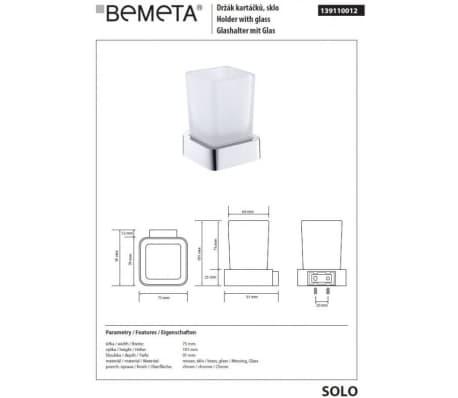Porte-verre SOLO en laiton chromé et verre 7,5 x10,1 x9,1 cm[2/2]
