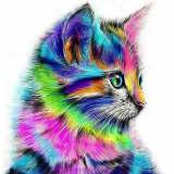 1pc arc-en-ciel Multicolore Moelleux Kitty Chat Animal de compagnie Ac