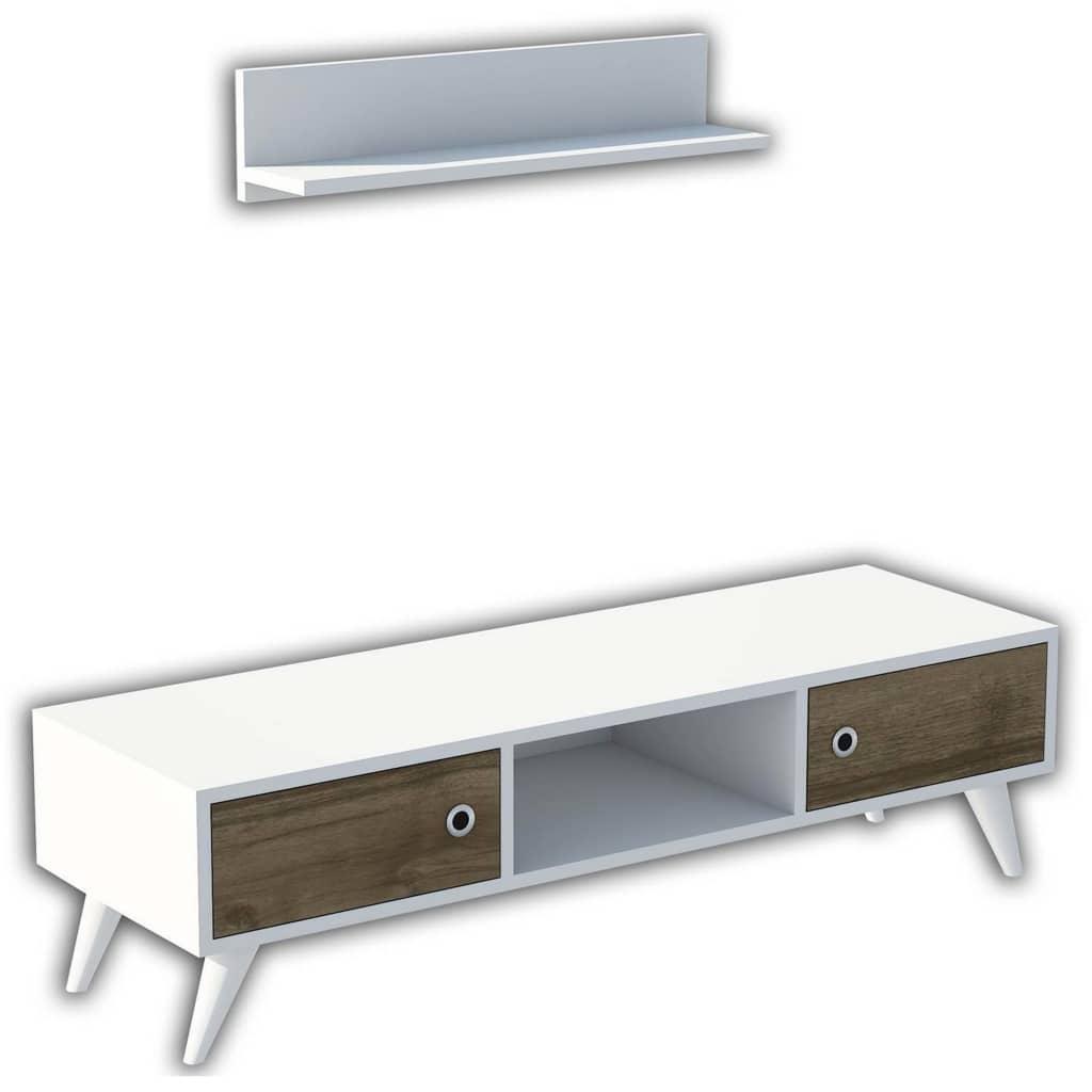 Homemania tv-bord Aspen 130x40x35 cm hvid og valnødfarvet