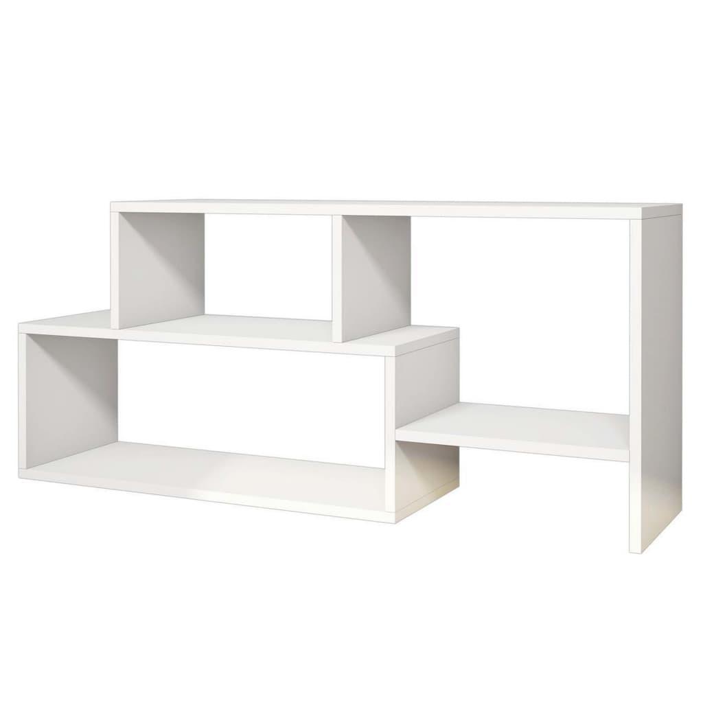 Homemania Szafka pod telewizor Clover, 121,8 x 29,5 x 53,8 cm, biała
