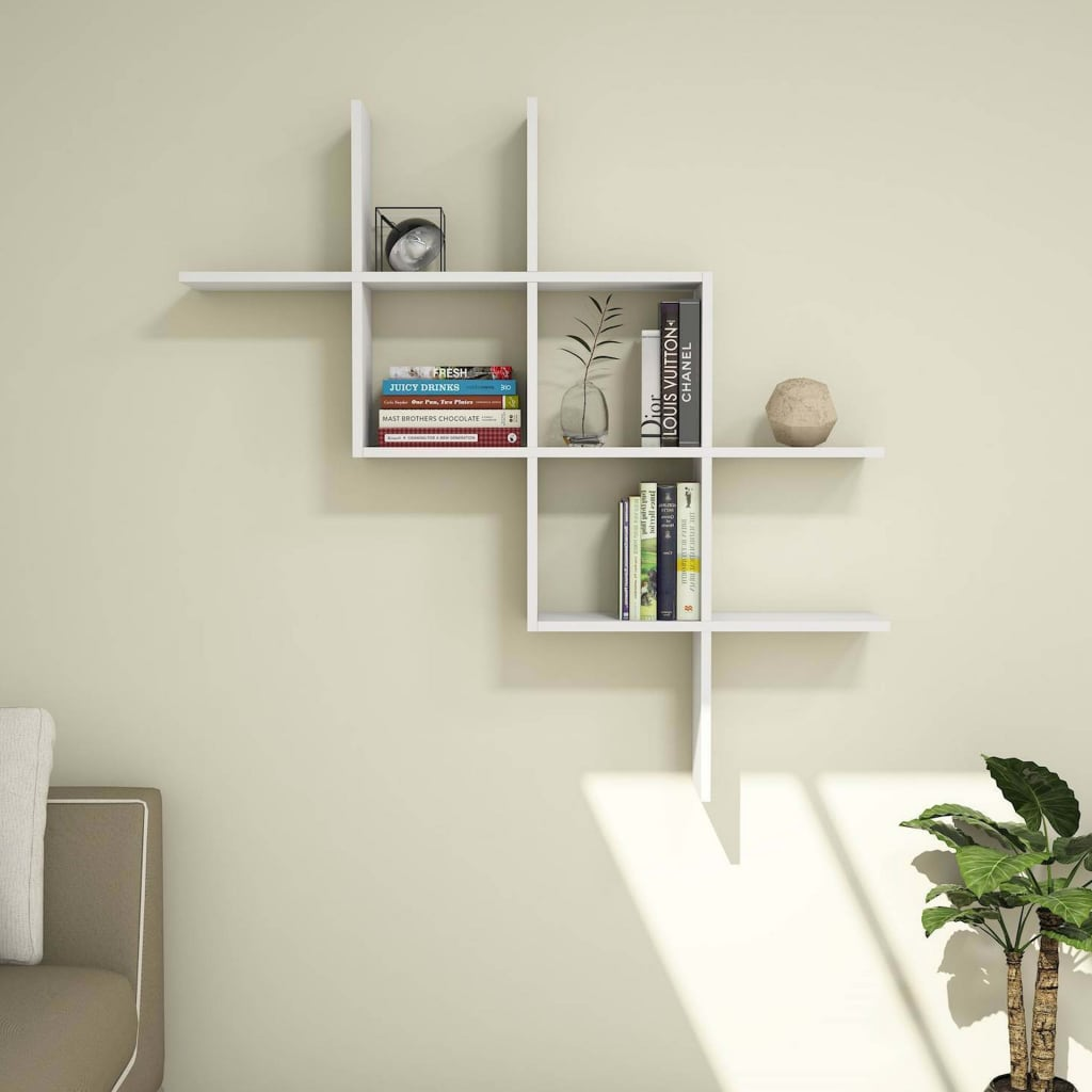 Homemania-Wandregal-125x22x125cm-Weiss-Haengeregal-Wandboard-Buecherregal-Regal Indexbild 5