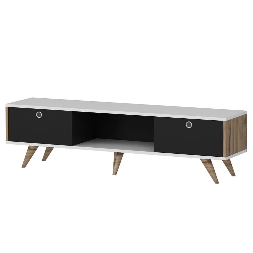 Homemania Szafka pod telewizor Zeyn, 150x35x41 cm, czarno-biała