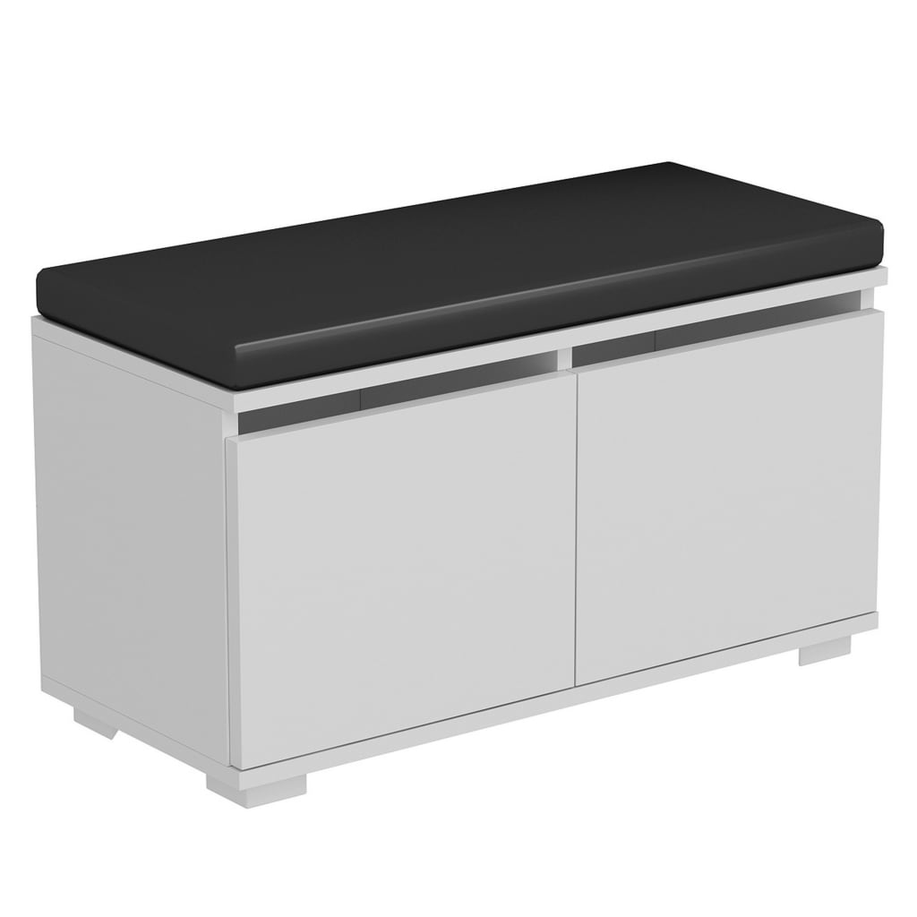 Homemania Schoenenkast met poef Drago 80x35x42 cm wit en zwart