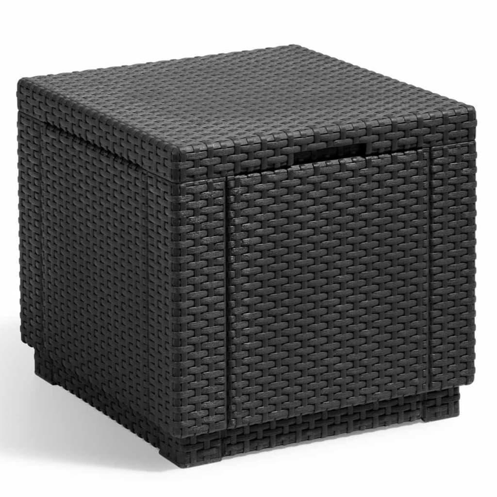 Allibert kubeformet opbevaringspuf grafitgrå 213816