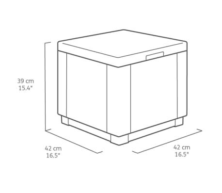 Allibert Pouf de Rangement Cube Cappuccino Salon Coffre Repose-pied ...