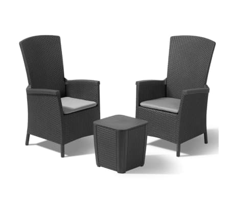 allibert garten balkon bistro set 3 tlg vermont graphitgrau g nstig kaufen. Black Bedroom Furniture Sets. Home Design Ideas