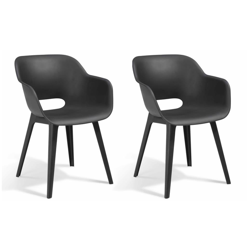 Allibert Καρέκλες Εξωτερικού Χώρου Akola 2 τεμ. Χρώμα Γραφίτης