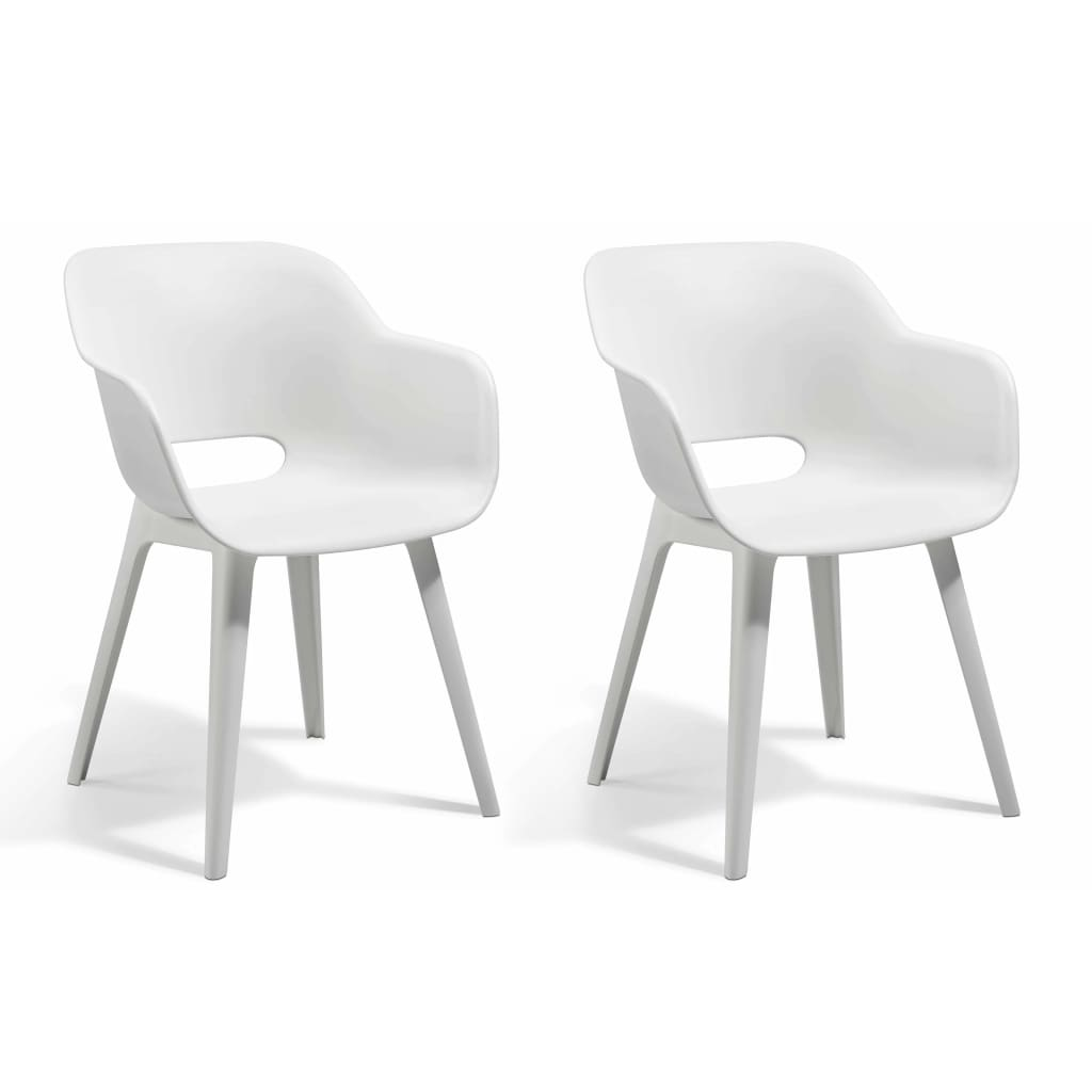 Allibert Καρέκλες Εξωτερικού Χώρου Akola 2 τεμ. Λευκές