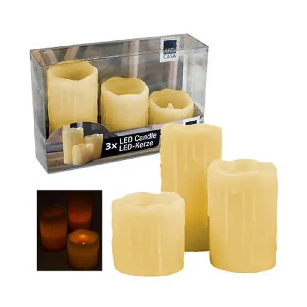 Afbeelding van Arti Casa LED kaarsen wax set 3 stuks