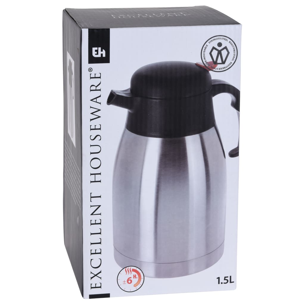 Excellent Houseware Thermos da 1,5 L in Acciaio Inossidabile