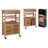 Excellent Houseware Chariot de cuisine 60x36x88 cm Bambou Marron