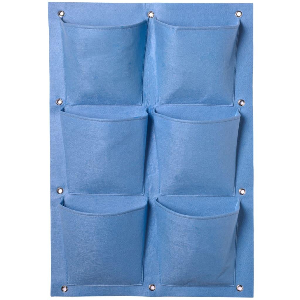 Plantentas voor verticaal tuinieren blauw 6 zakken 72 x 50 cm
