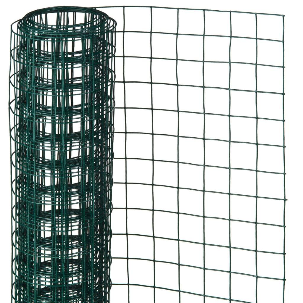 Nature Plasă din sârmă, verde, 1 x 5 m, oțel cu plastic,13 mm, pătrat poza 2021 Nature