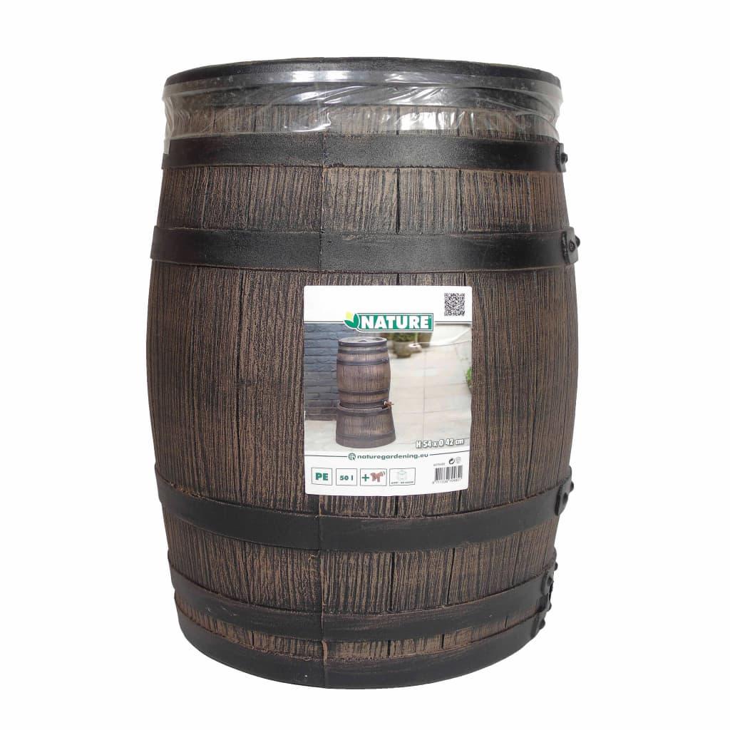 Nature Regenton met hout-look 50 L 38x49,5 cm bruin