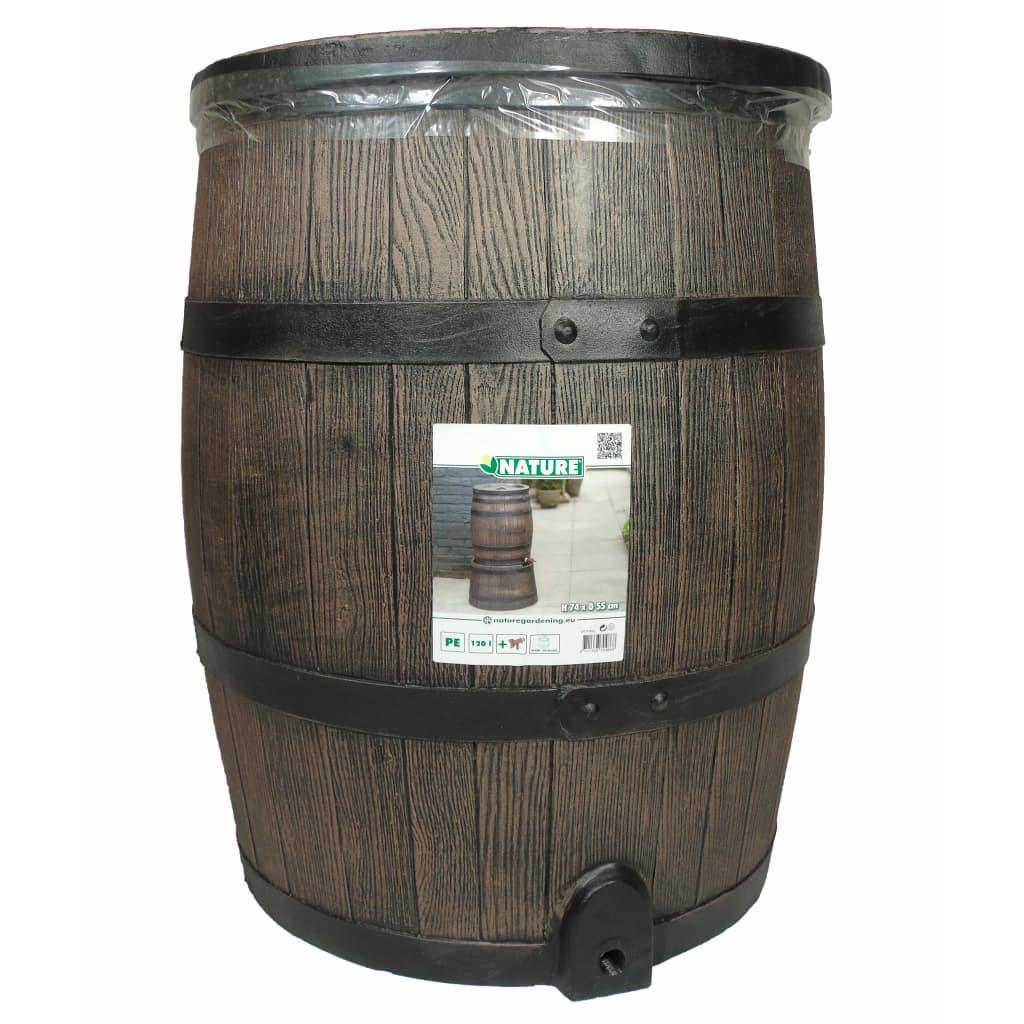 Nature Regenton met hout-look 120 L 50,5x66 cm bruin