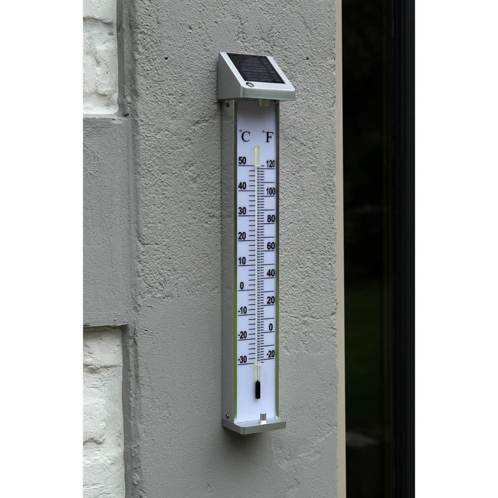 Nature buitenthermometer met lamp op zonne-energie 6080066