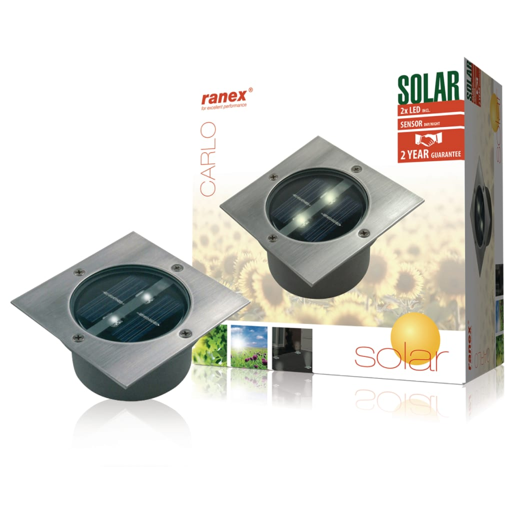 ranex spot solaire 2 led carr e offre girofferte fr. Black Bedroom Furniture Sets. Home Design Ideas