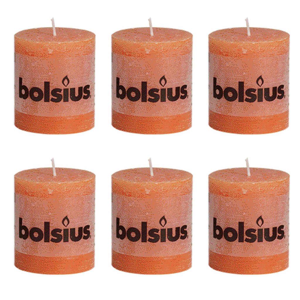 Bolsius rustikální válcové svíčky 80 x 68 mm, oranžové, 6 ks