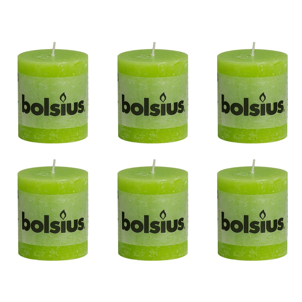 Bolsius Rustikální válcová svíčka 6 ks 80x68 mm limetková