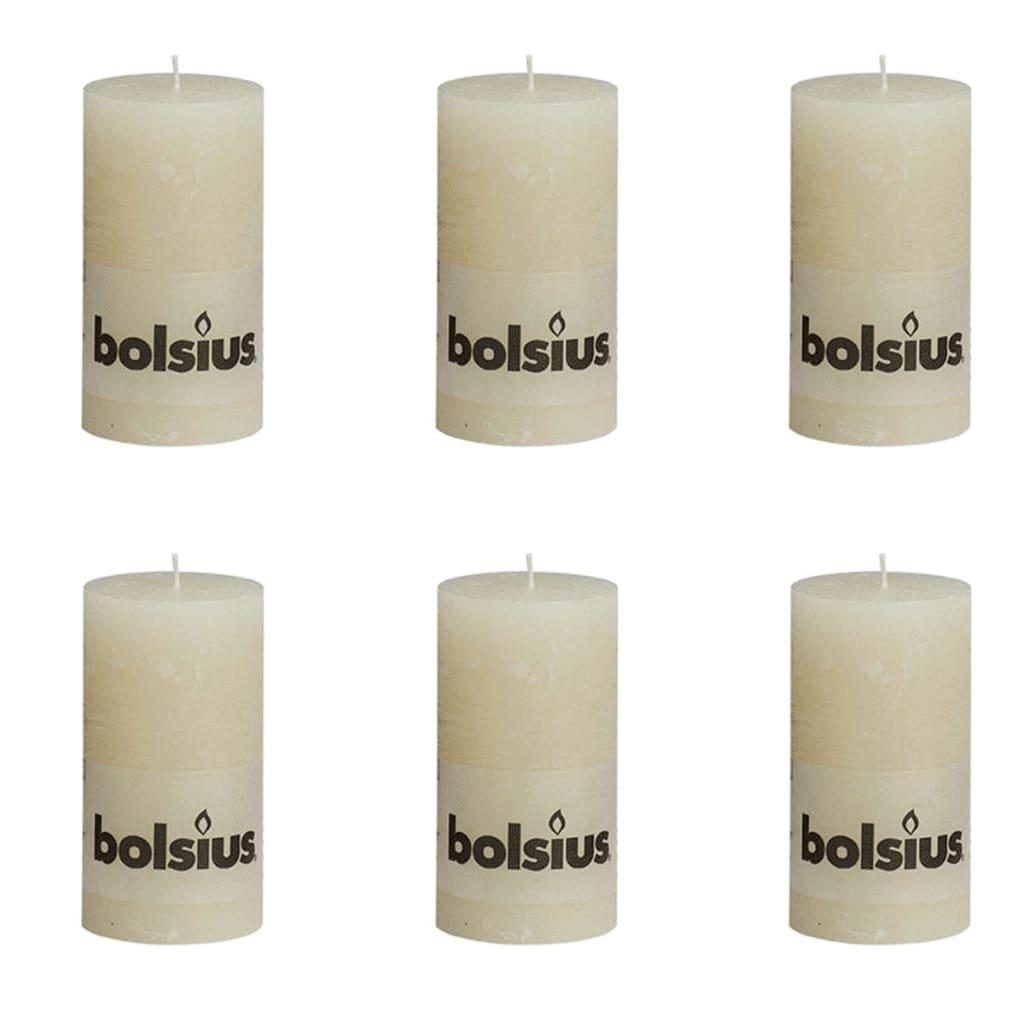 Bolsius rustikální válcové svíčky 130 x 68 mm, slonovinové, 6 ks