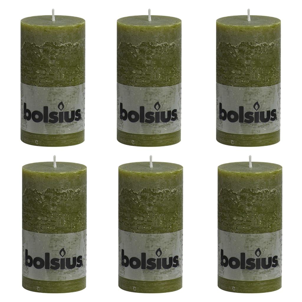 Bolsius Lumânări bloc rustice, 6 buc., oliv, 130 x 68 mm vidaxl.ro