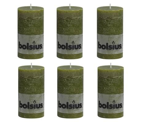 Bolsius Lumânări bloc rustice, 6 buc., oliv, 130 x 68 mm