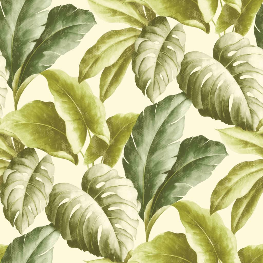 DUTCH WALLCOVERINGS tapet tropiske blade grøn og hvid