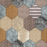 DUTCH WALLCOVERINGS Behang patchwork bruin en beige 7360-0