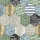 DUTCH WALLCOVERINGS Behang patchwork groen en blauw 7360-3